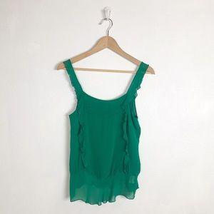 Zara Trafaluc green ruffle tank top
